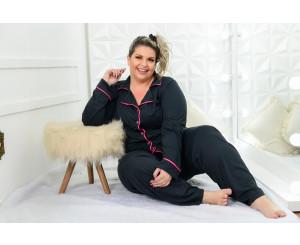 Pijama Plus Size Longo Feminino (212015preto)