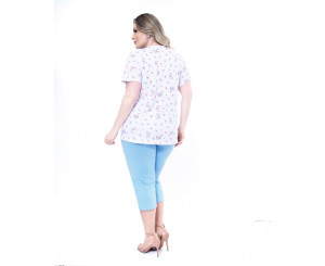 Pijama Plus Size Aberto Capri Paulienne ( 08163)